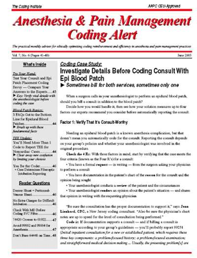 Anesthesia & Pain Management Coding Alert Magazine Subscription Canada