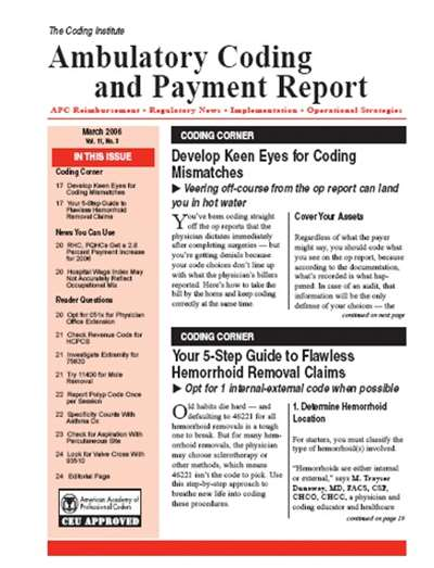 Ambulatory Coding & Payment Report Magazine Subscription
